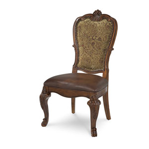 Old World Cathedral Cherry Motif Upholstered Back Side Chair