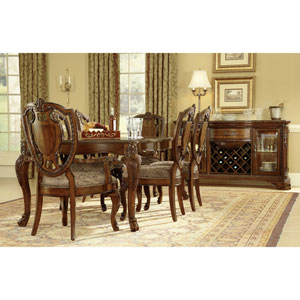 Old World Cathedral Cherry Motif Leg Dining Table