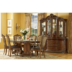 Old World Cathedral Cherry Motif Double Pedestal Dining Table Set