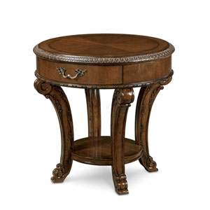 Old World Cathedral Cherry Motif Round End Table