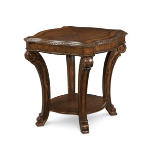 Old World Cathedral Cherry Motif Rectangular End Table