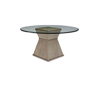 Cityscapes Hancock Round Dining Table with 54-Inch Glass Top