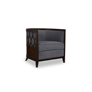 Morgan Charcoal Barrel Back Chair with Fretwork