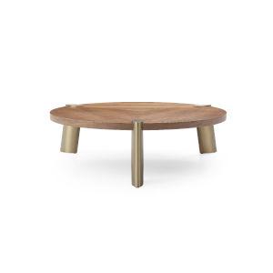 Mimeo Walnut and Brass Round Coffee Table