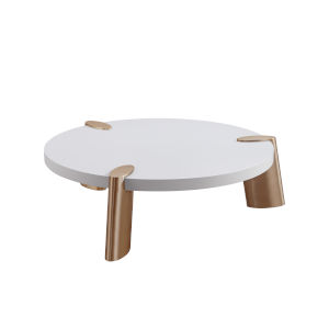 Mimeo Matte White and Brass Round Coffee Table