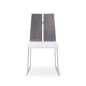 Lauren Gray and White Dining Chair