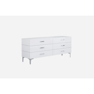 Diva Gloss White and Chrome Double Dresser