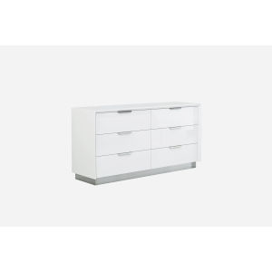 Navi Gloss White and Chrome Double Dresser