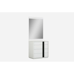 Kimberly Gloss White and Black Single Dresser with Mirror
