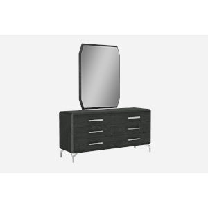 Los Angeles High Gloss Gray Double Dresser with Mirror
