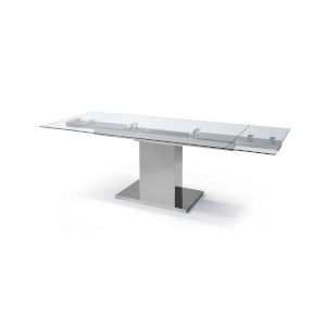 Slim Clear and Stainless Steel Extendable Dining Table