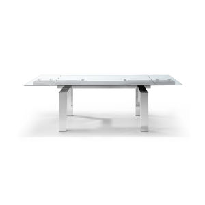 Cuatro Clear and Aluminium Extendable Dining Table