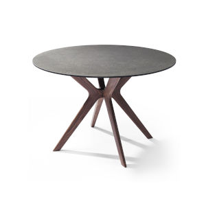 Redondo Gray and Walnut Round Dining Table