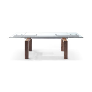 Davy Clear and Walnut Extendable Dining Table