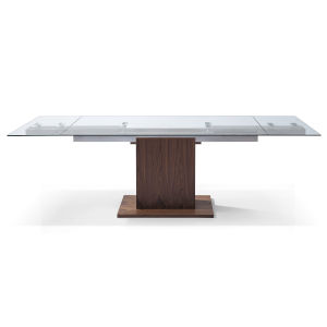 Pilastro Clear and Walnut Extendable Dining Table