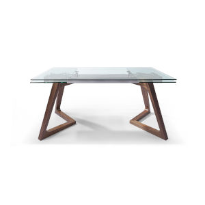 Delta Extendable Clear and Walnut Extendable Dining Table