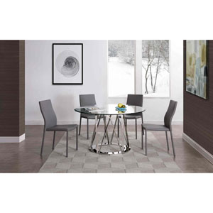 Hanover Clear and Stainless Steel Round Dining Table