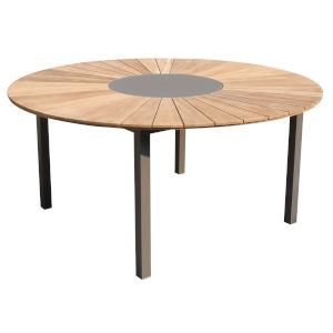 Sanctuary Taupe with Teak Outdoor Round Dining Table