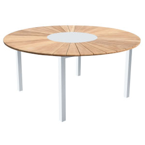 Sanctuary White with Teak Outdoor Round Dining Table
