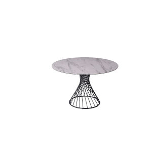Oscar White and Black Round Dining Table