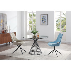 Cielo Matte Black Round Dining Table
