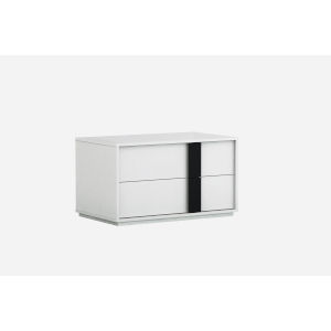 Kimberly Gloss White and Black 31-Inch Nightstand