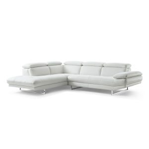 Pandora White Sectional Sofa with Left Facing Chaise