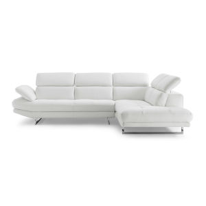 Pandora White Sectional Sofa with Right Facing Chaise