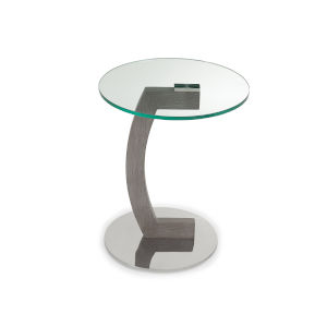 Duval Clear and Gray Side Table