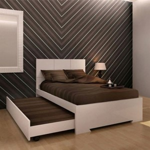 Anna High Gloss White Twin Bed with Trundle