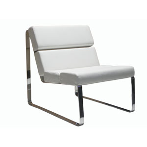 Angel White and Chrome 22-Inch Chair