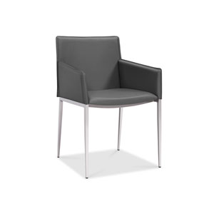 Daphne Dining Armchair, Gray Faux Leather, Brushed Nickel Frame and Legs