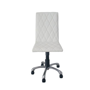 Julian Armless Office Chair, White Faux Leather