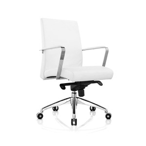 Clemson White Leatherette Low Back Office Chair