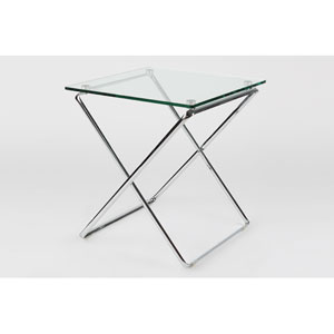 Jason Chrome Glass Tempered 22-Inch Side Table