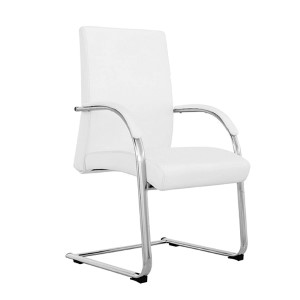 Clemson White Leatherette Visitor Office Chair