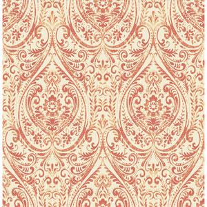 Gypsy Coral Damask Wallpaper