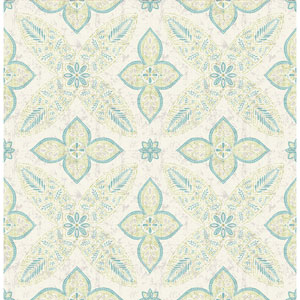 Off Beat Ethnic Turquoise Geometric Floral Wallpaper