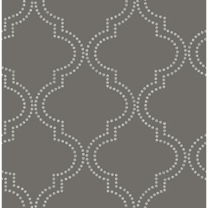 Tetra Charcoal Quatrefoil Wallpaper