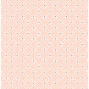 Kinetic Salmon Geometric Floral Wallpaper