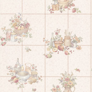 Pajer Beige Vintage Fruit Tile Wallpaper