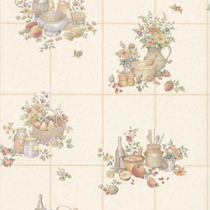 Pajer Cream Vintage Fruit Tile Wallpaper
