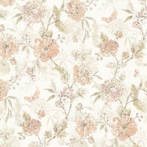 Beecroft Peach Butterfly Peony Trail Wallpaper