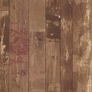 Heim Brown Distressed Wood Panel Wallpaper