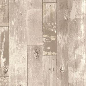 Heim Grey Distressed Wood Panel Wallpaper