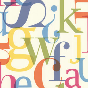 Angus Multicolor Vintage Letter Font Wallpaper