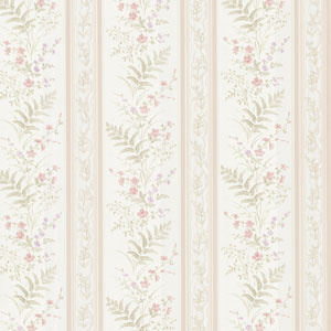 Bell Pink Wildflower Stripe Wallpaper