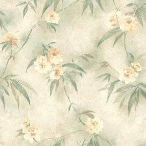 Segal Green Textured Floral Trail Wallpaper