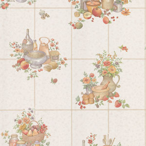 Pajer Mauve Vintage Fruit Tile Wallpaper