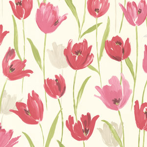 Finch Pink Hand Painted Tulips Wallpaper